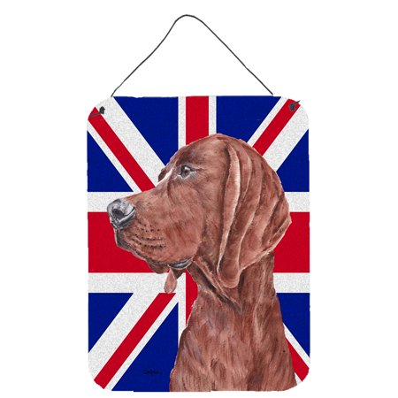 Redbone Coonhound with English Union Jack British Flag Wall or Door Hanging