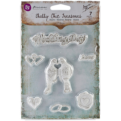 Shabby Chic Treasures Resin Embellishments-Wedding 7/Pkg