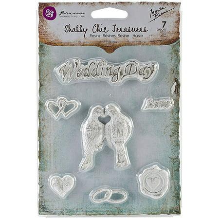 Prima Marketing Shabby Chic Treasures Resin, Wedding, 7-Pack Multi-Colored