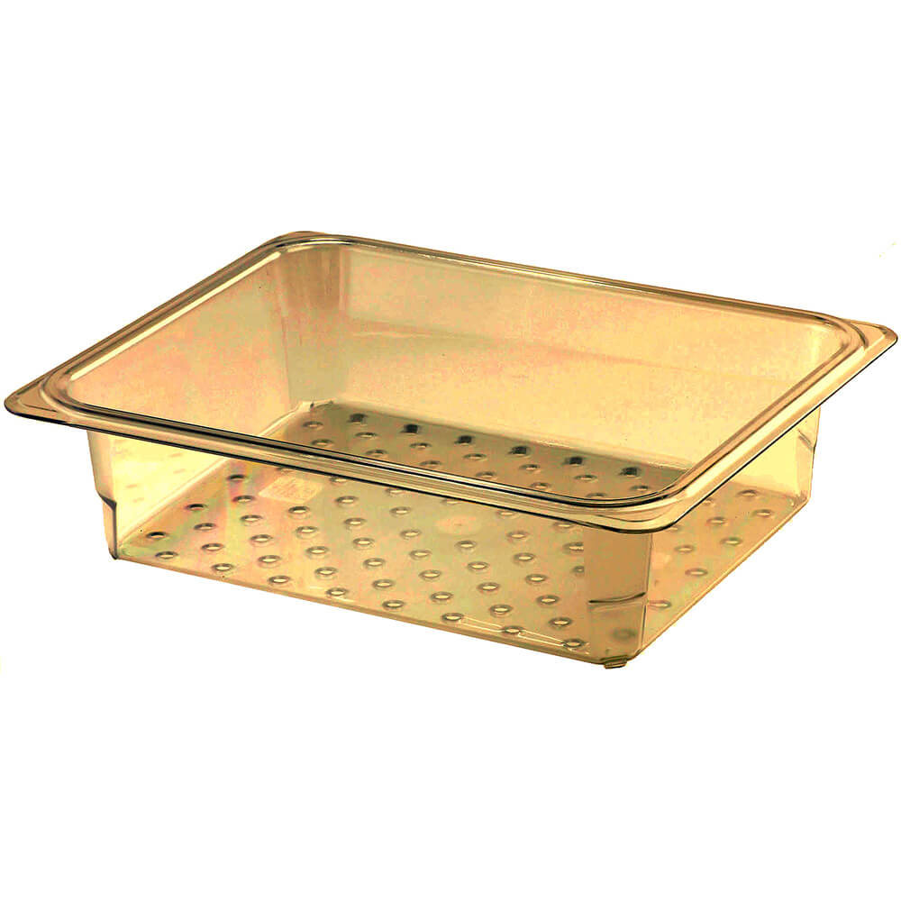 """Cambro High Heat Perforated Pan / Colander, 1/2 GN, 3"""" Deep, 6PK, Amber, 23CLRHP-150"""
