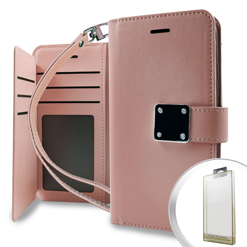 MUNDAZE Rose Gold Storage Faux Leather Wallet Case For LG Stylo 3 Phone