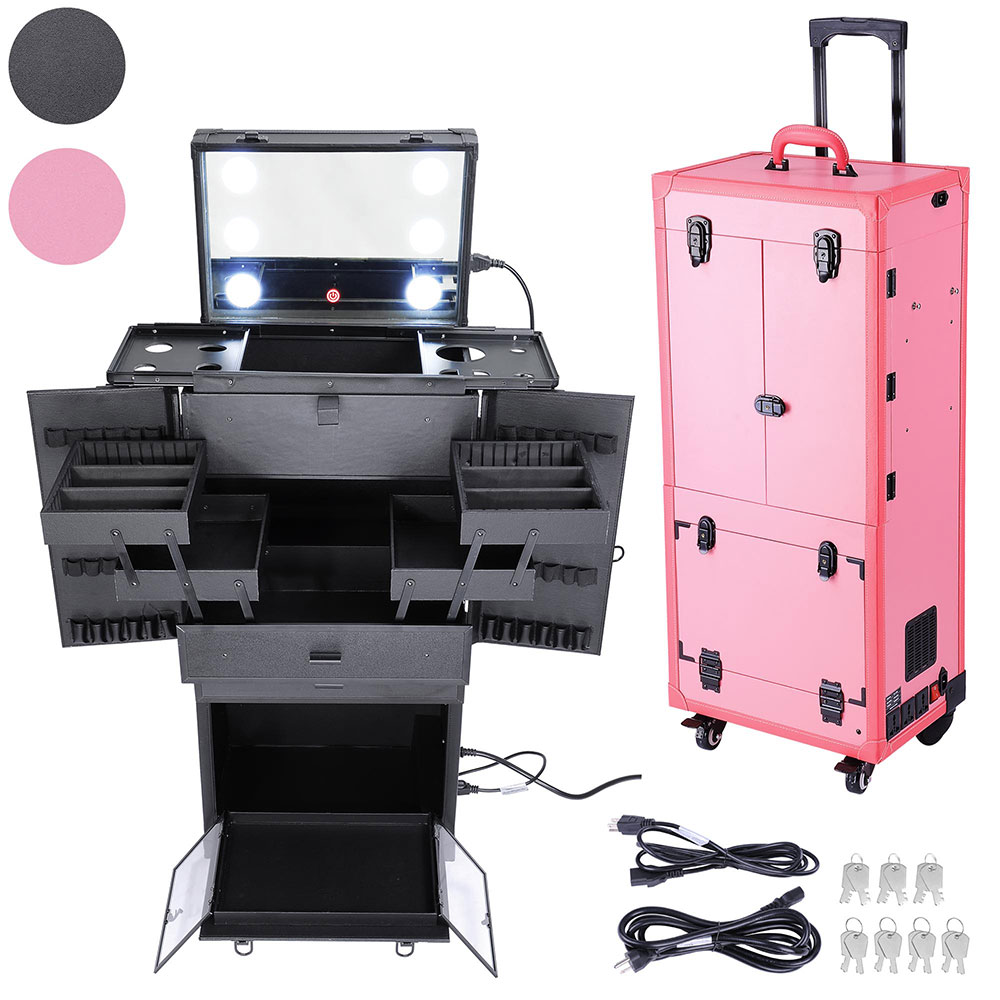 "AW 34""x14""x11"" Multifunction Studio Rolling Makeup Case w/ LED Lights Mirror Telescopic Legs 4 Wheels Drawers"