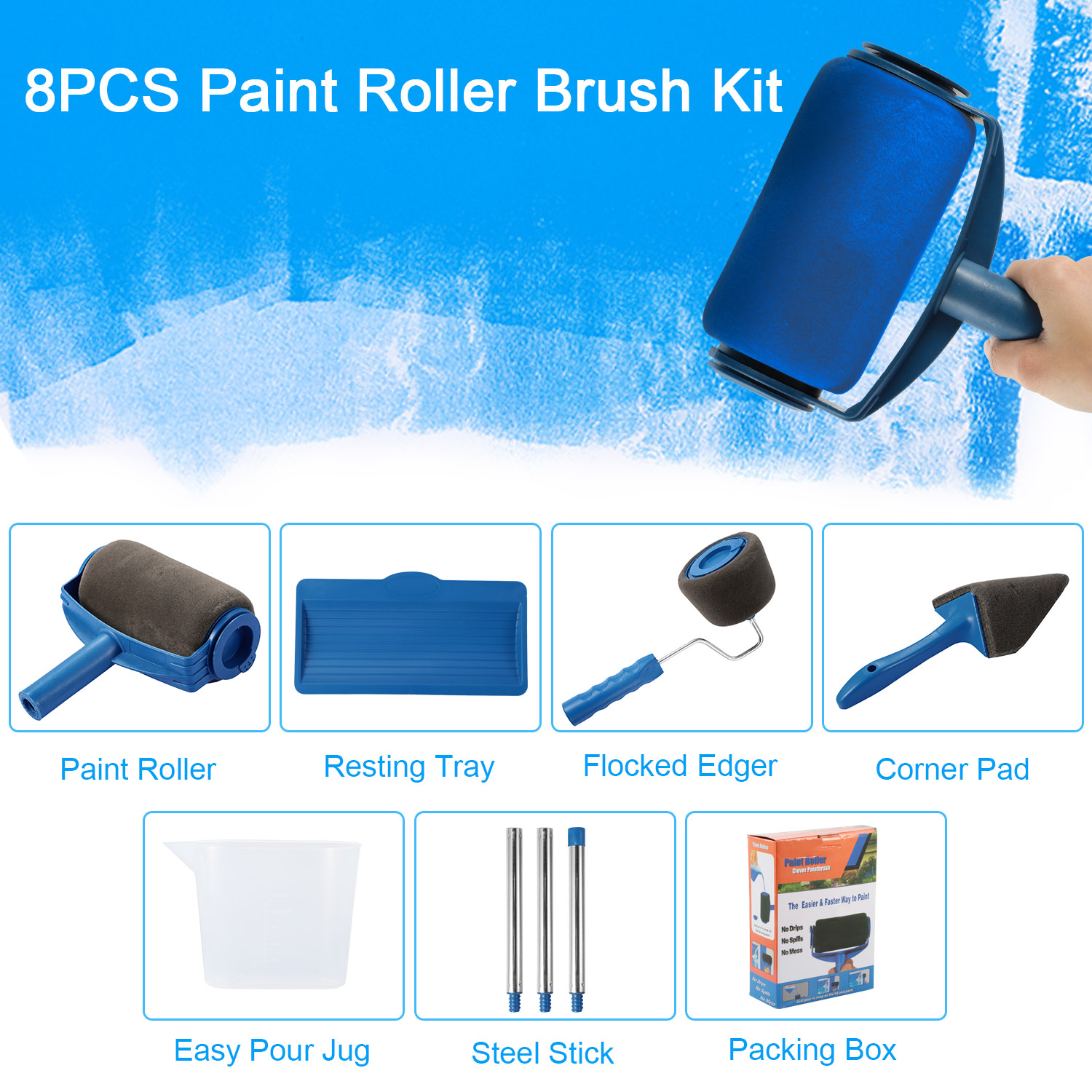 8Pcs Paint Roller Brush Kit Paint Runner Pro Set Brush Handle Flocked Edger with 3 Extendable Poles DIY Wall Painting for Home Office