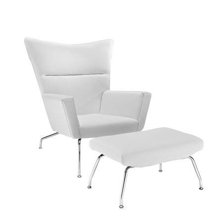 Stupendous Modern Contemporary Living Room Leather Lounge Chair White Cjindustries Chair Design For Home Cjindustriesco