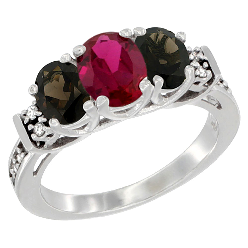 14K White Gold Enhanced Ruby & Natural Smoky Topaz Ring 3-Stone Oval Diamond Accent, sizes 5-10 by WorldJewels