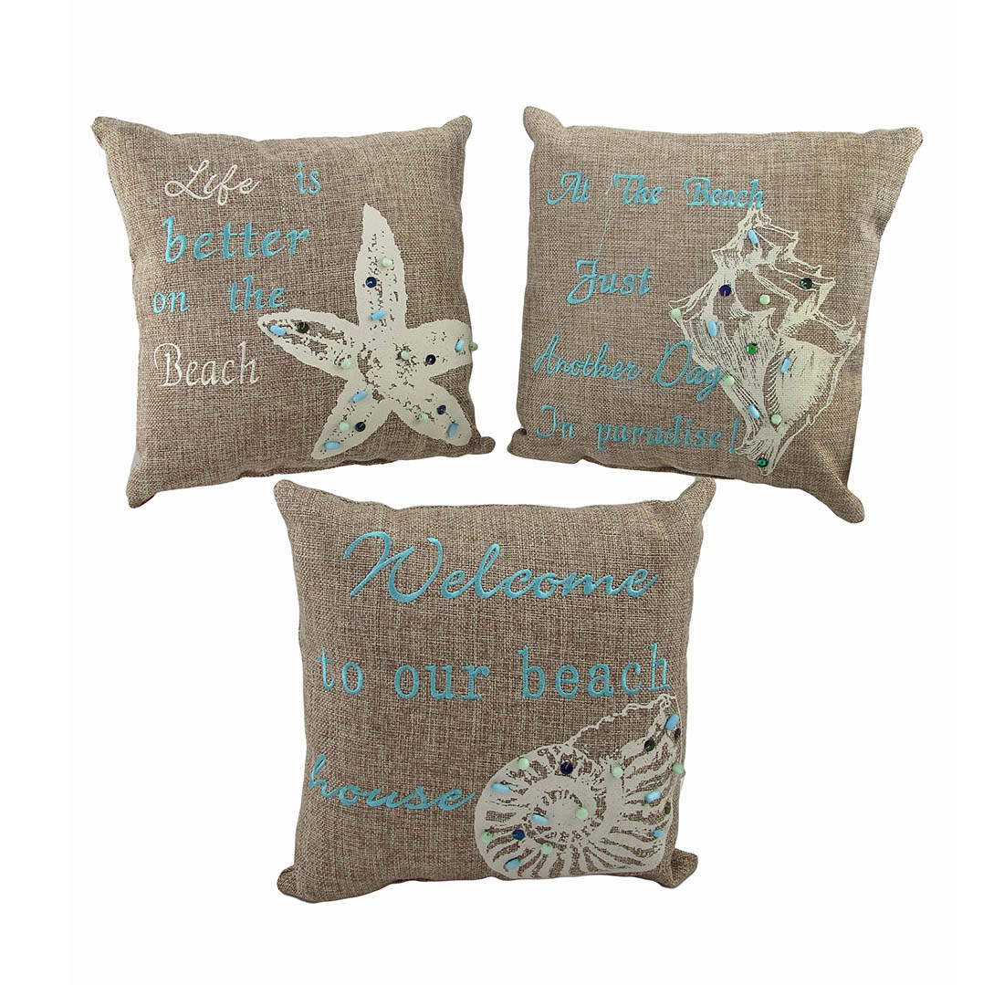 set of 3 beach themed accent pillows 10 in nautical seashell decor