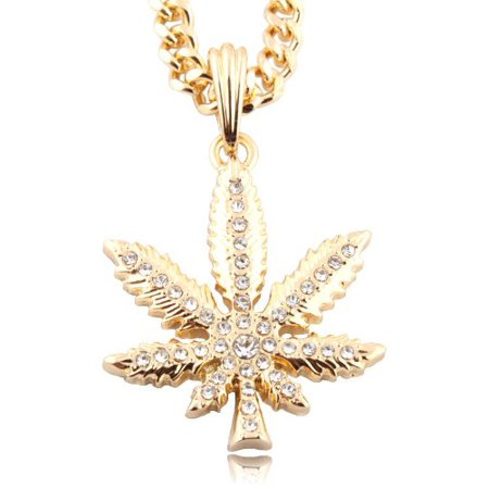 Small Goldtone Iced Out Marijuana Pendant with a 24 Inch Miami Cuban Chain (Best Buds Necklace Marijuanas)