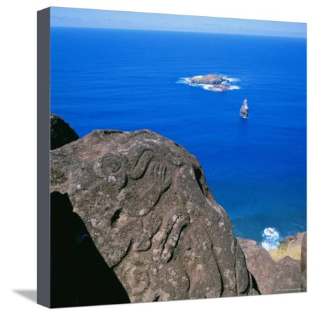 Birdman Petroglyphs at Orongo Ceremonial Village on Rim of Crater Rano Kau, Easter Island, Chile Stretched Canvas Print Wall Art By Geoff Renner