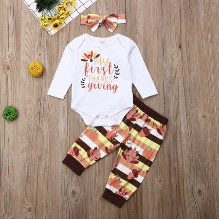 My 1st Thanksgiving Baby Girl Romper+Pants Leggings Set Infant 3PCS Outfit