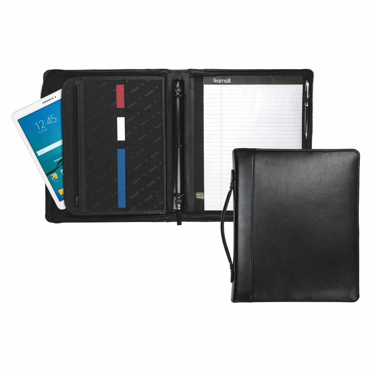 "Samsill Regal Leather 1.5"" Round Ring Zipper Binder Portfolio with Retractable Handle and Interior 10.1"" Tablet Sleeve, Black"
