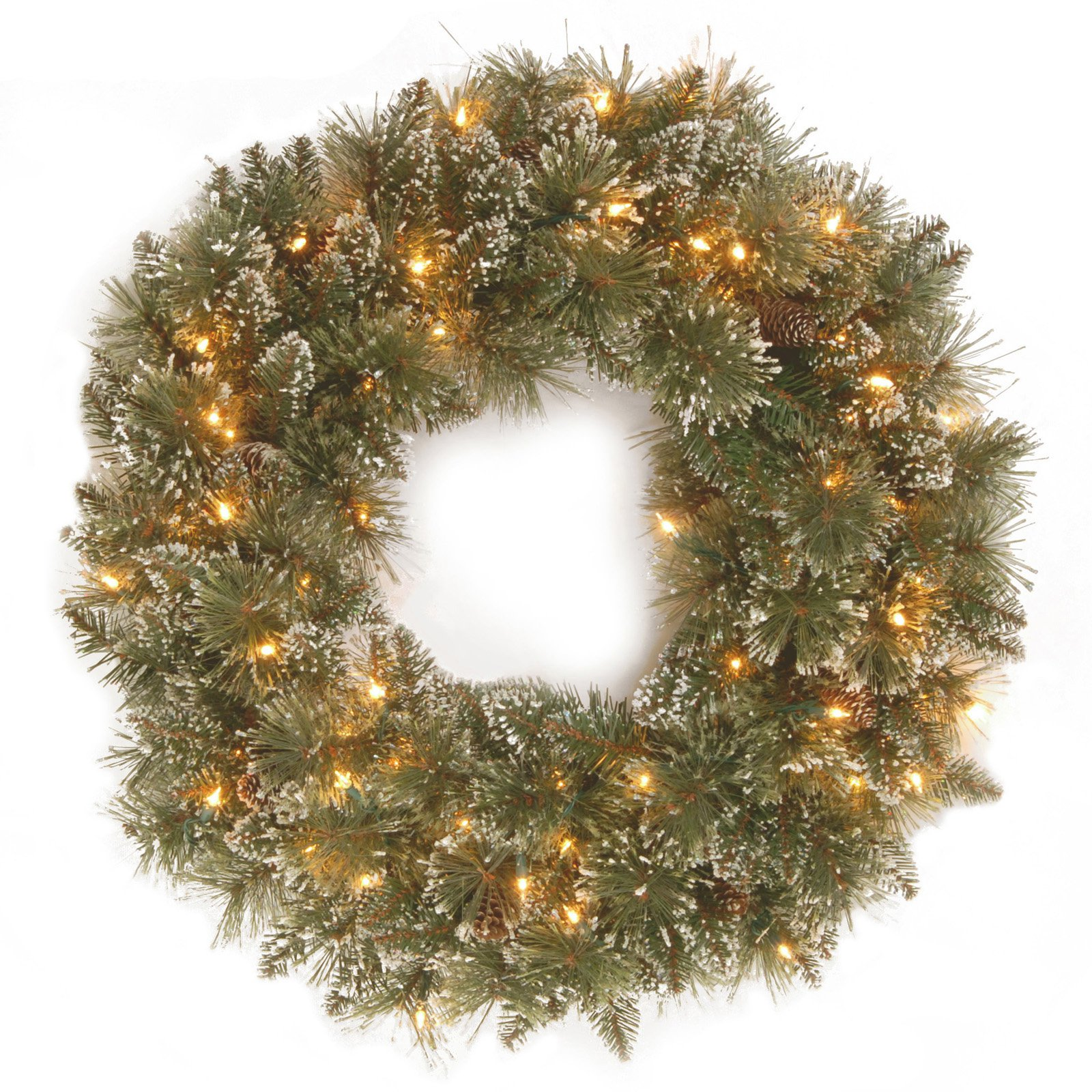 "National Tree 24"" Glittery Bristle Pine Wreath with 50 Clear Lights"