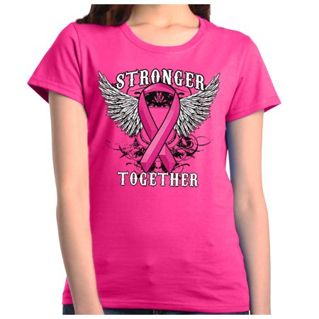 Shop4Ever Women's Stronger Together Breast Cancer Awareness Graphic T-Shirt](Purple Cancer)