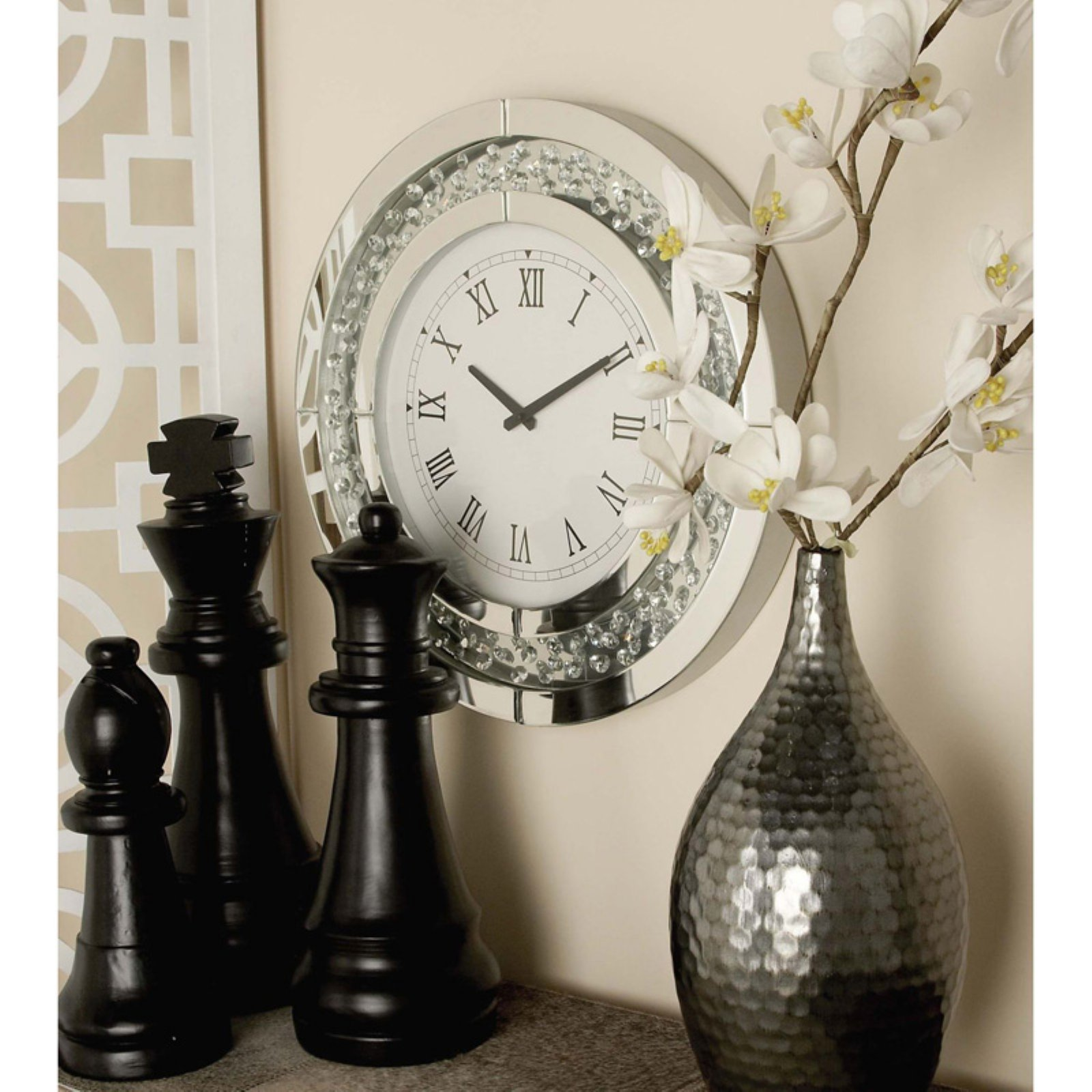 Decmode Wood Mirror Wall Clock, Multi Color