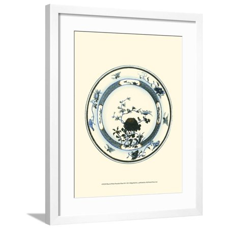 Blue and White Porcelain Plate III Framed Print Wall Art
