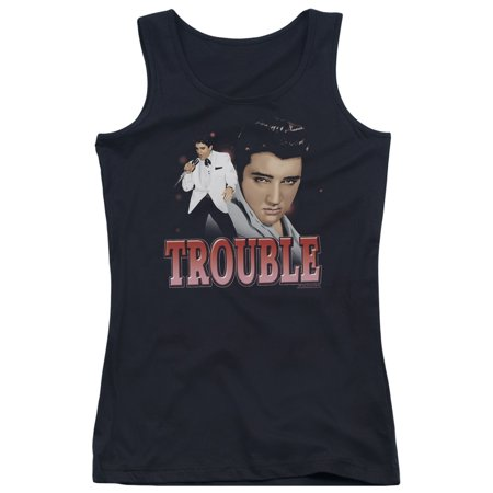 Elvis Presley The King Rock Gray Trouble Juniors Tank Top Shirt