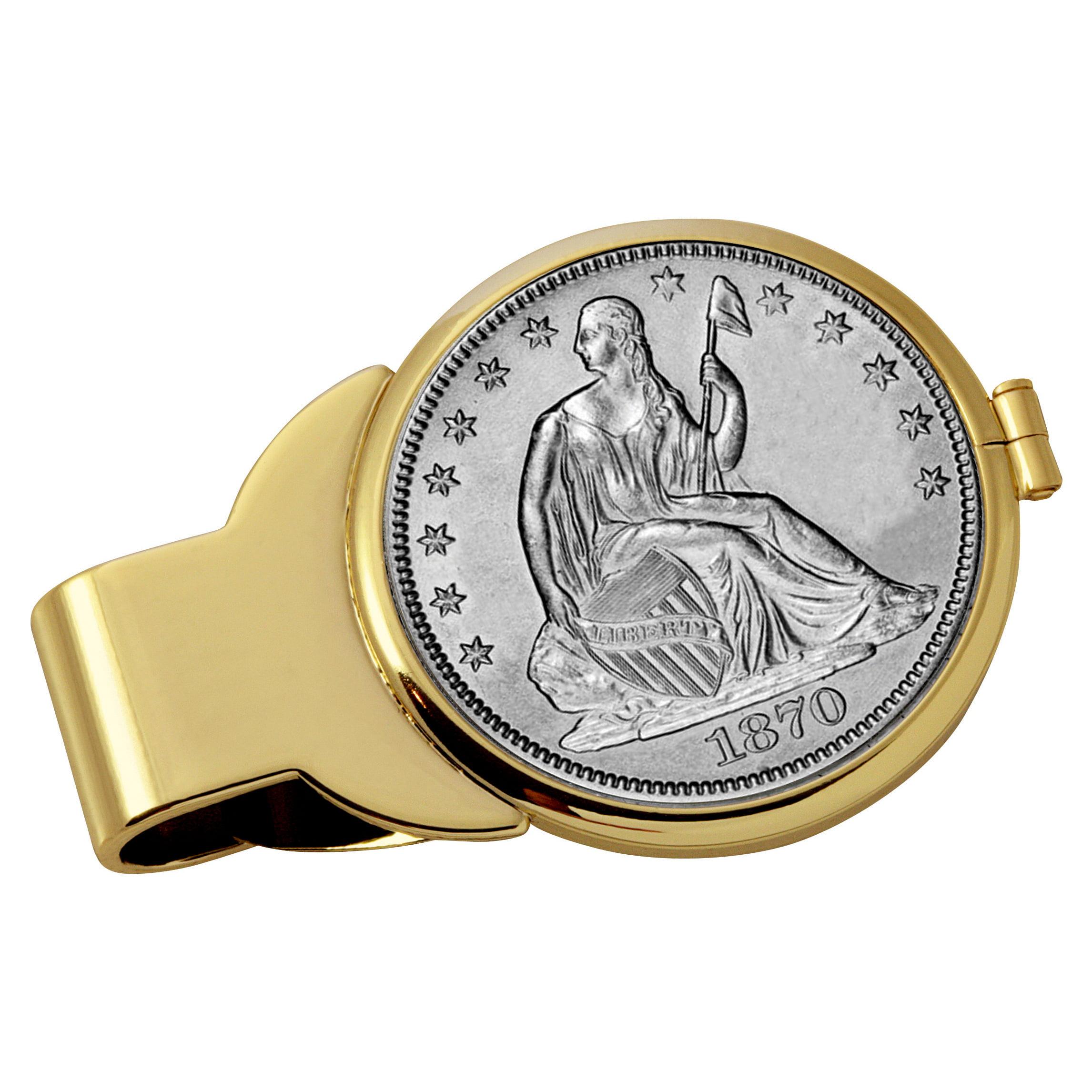 Silver Seated Liberty Half Dollar Goldtone Coin Money Clip