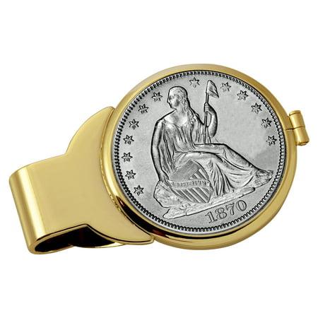 Silver Seated Liberty Half Dollar Goldtone Coin Money Clip ()