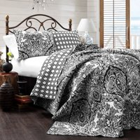 Aubree 3-Piece Charcoal Cotton Full/Queen Quilt Set by Lush Decor