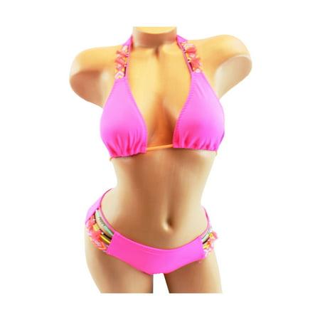 c4c2edded5 Victoria's Secret - Victoria's Secret Tribal Neon Pink Back Ruched Triangle  Halter Small Bikini Set - Walmart.com