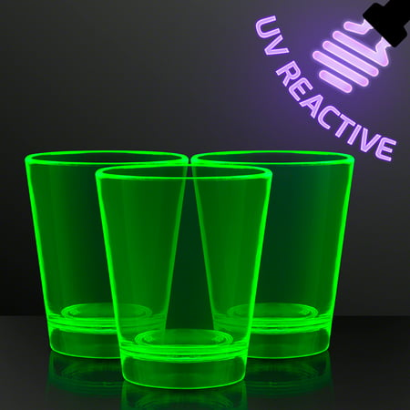 Glow In The Dark Drinking Glasses (FlashingBlinkyLights 1.5 oz. Green Glow Neon UV Reactive Shot Glasses (Set of)