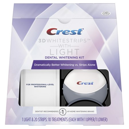 Crest 3D White Whitestrips with Light Teeth Whitening Kit, 10 Treatments (Teeth Whitening Kit Uv Light)