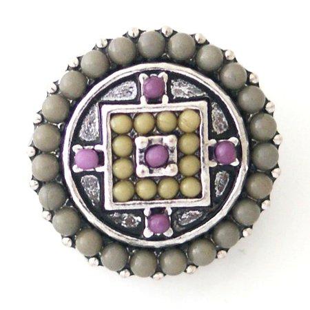 - 1 PC 18MM Gray Purple Geometric Faux Pearl Rhinestone Silver Candy Snap Charm kb6410 CC0776