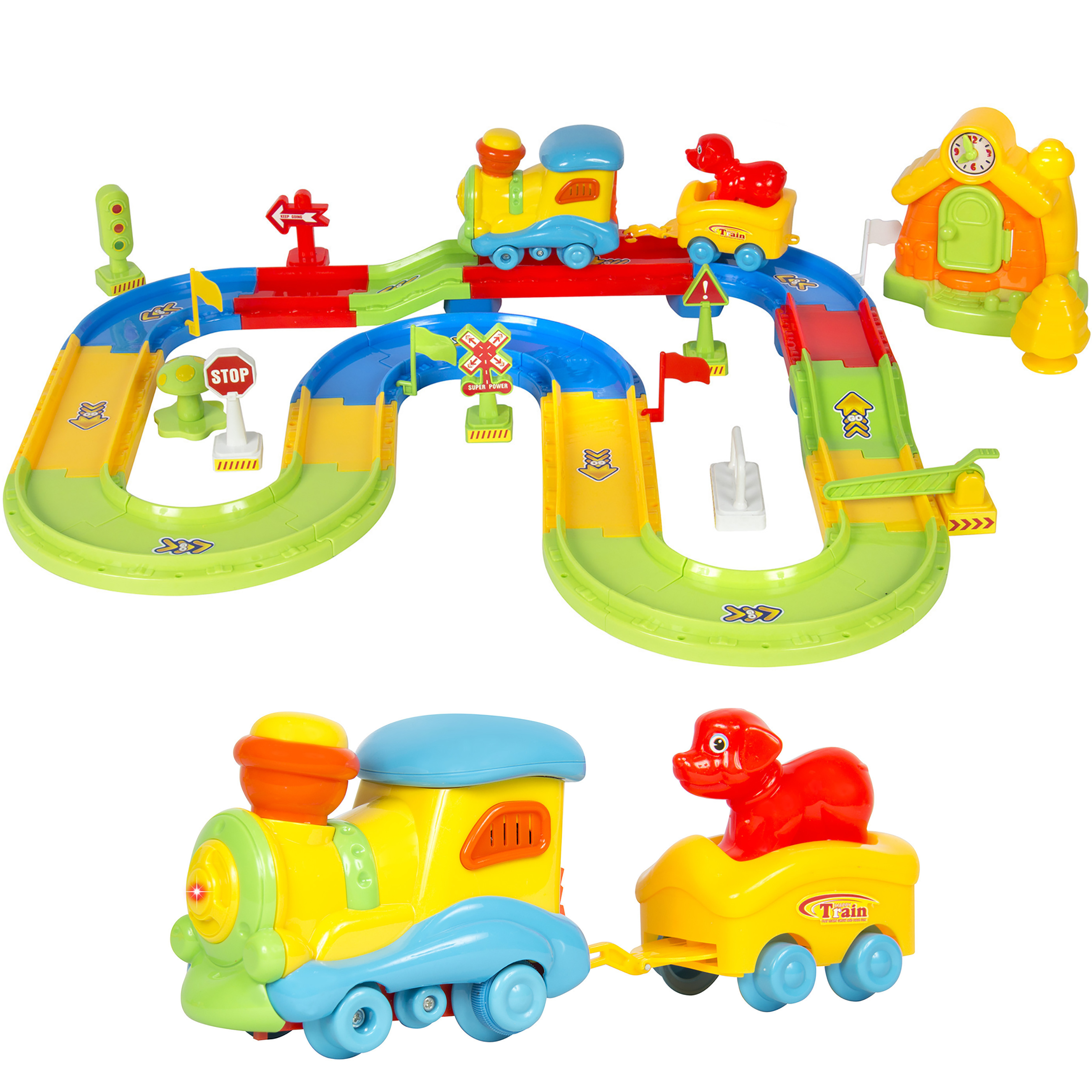 Kids Toy Deluxe Electric Train Set With Lights and Sound Colorful Tracks Battery Operated Railway Car Set