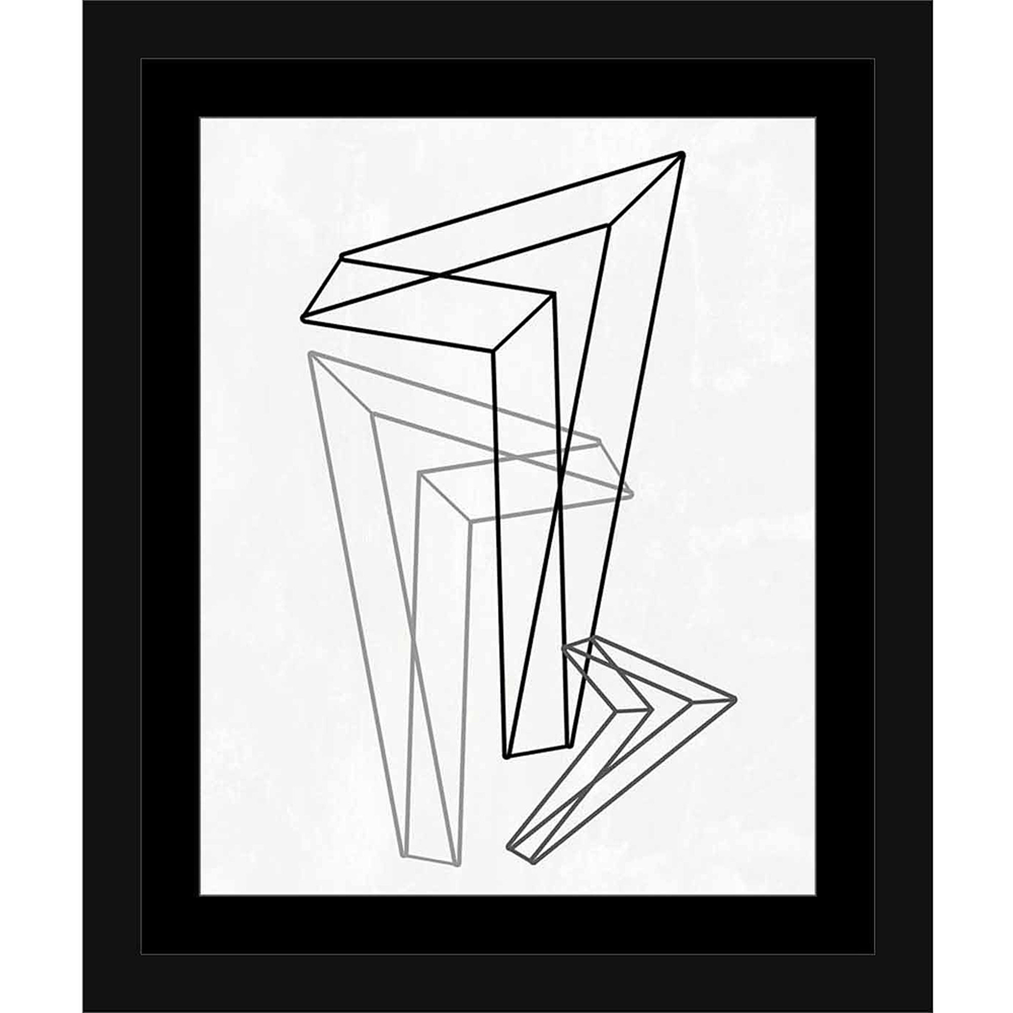 Geometric Triangle Line Drawing Modern Contemporary Trendy Abstract Black & White, Framed Canvas Art by Pied Piper Creative