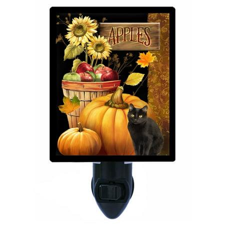 Night Light - Photo Light - Autumn Apples - Black Cat - Pumpkins - - Black Apples