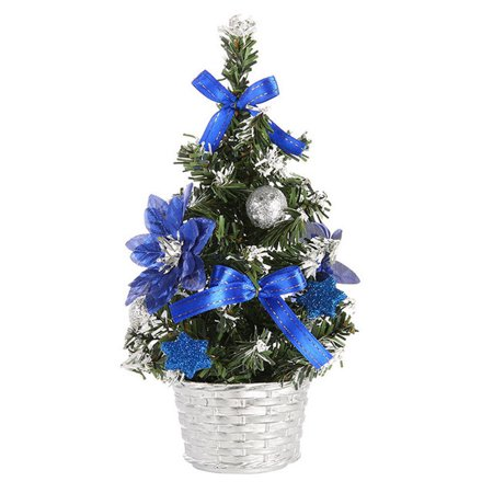 Artificial Tabletop Mini Christmas Tree Decorations Festival Miniature Tree 20cm Blue Green Silver Christmas Trees