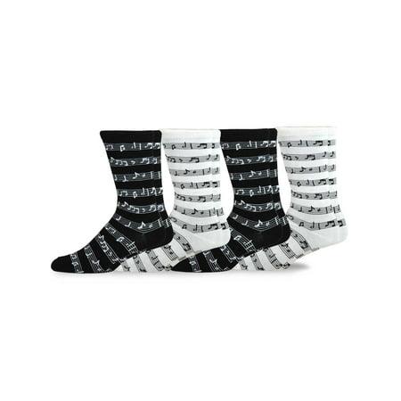 TeeHee Men's Music Cotton Crew Socks 4-Pack