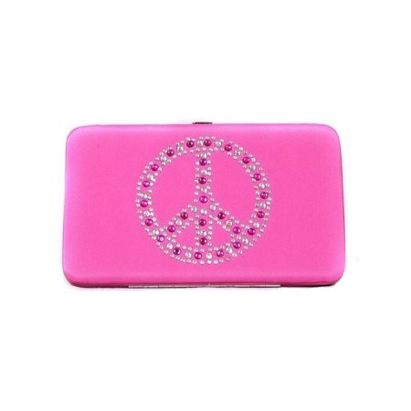 Women Girls Pink Rhinestone Peace Flat Wallet 7.5 inches x 4.5 inches