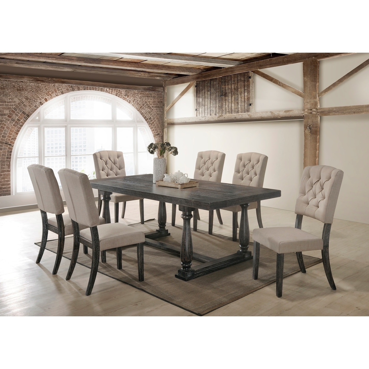 Bon Best Master Furniture Katrina Weathered Oak 7 Pieces Dining Set