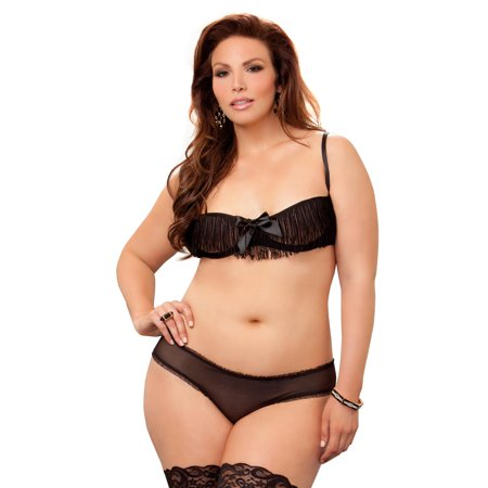 e57167af1 iCollection - Plus Size BBW Fringe Bra and Panty Lingerie Set - Walmart.com