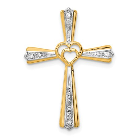 Roy Rose Jewelry 14K Yellow Gold .012-Carat Diamond Accent Cross Pendant