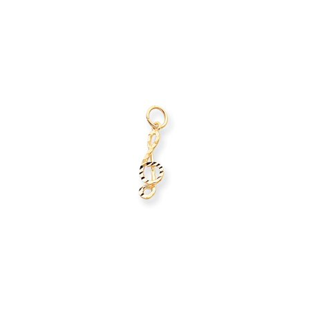Gold Treble Clef Note Charm (10K Gold Medium Solid Treble Clef Charm Pendant (0.98 in x 0.28 in) )