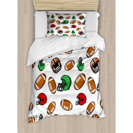 American Football Duvet Cover Set, Cartoon Style Rugby Icons Balls American Culture Competitive Game Sports, Decorative Bedding Set with Pillow Shams, Multicolor, by Ambesonne Ground Rugby Boots