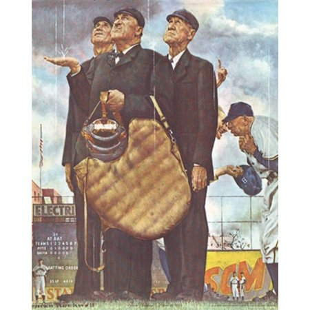 Three Umpires Poster Print by Norman Rockwell (11 x 14)