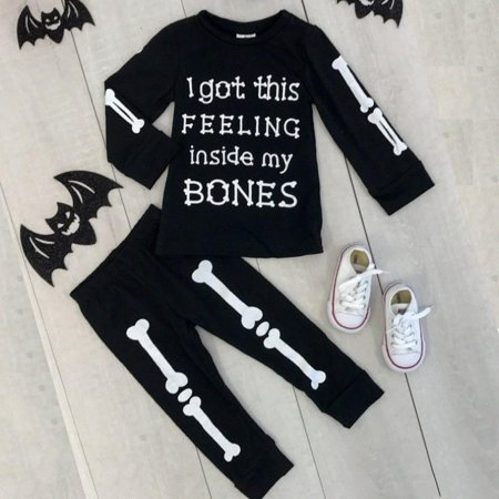 2PCS Toddler Kids Baby Boy Girl Clothes T-shirt+Pants Leggings Halloween Outfits Set - Boy And Girl Halloween Outfits