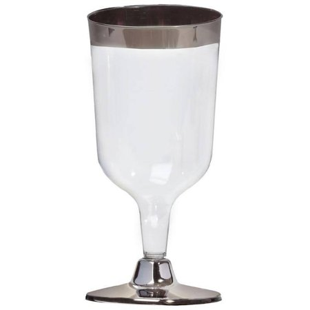 BalsaCircle Silver Rim 11 pcs 7 oz. Clear Plastic Goblets - Wedding Reception Party Buffet Catering Tableware](Plastic Goblets)
