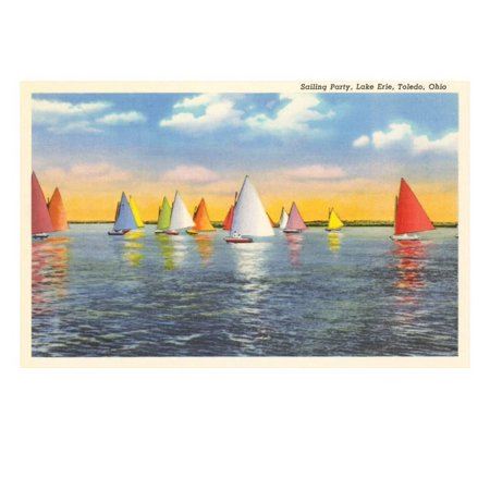 Colorful Sailboats, Lake Erie, Toledo, Ohio Print Wall