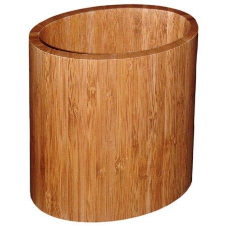 Totally Bamboo 20-2063 Kitchen Utensil Holder, Oval, Bamboo - Burlap Utensil Holder