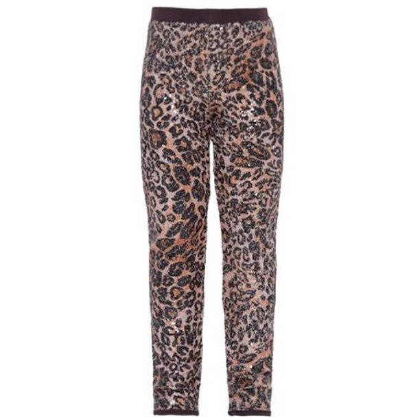Little Girls Brown Leopard Pattern Stretchy Casual Leggings 5
