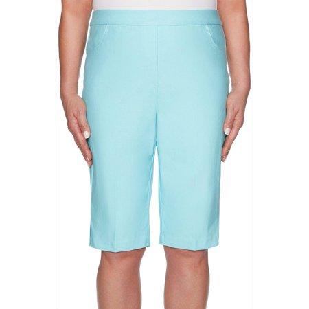 Alfred Dunner Womens Catalina Island Stretch Bermuda Shorts 14 Aqua