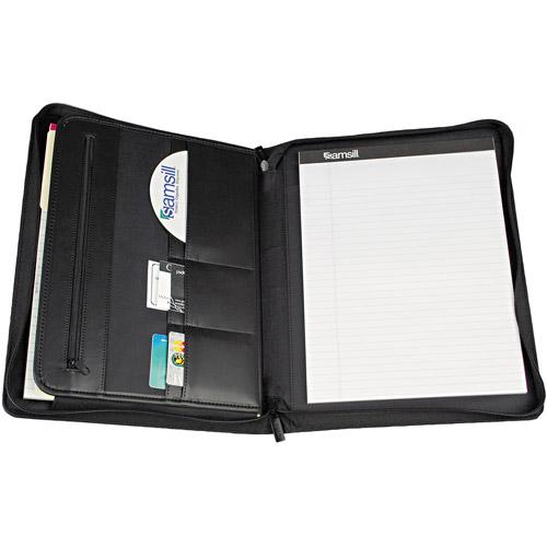 Samsill iPad Zipper Padholder With Magnetic Flap, Black Vinyl