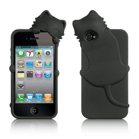 DreamWireless Cat Rubber Silicone Soft Skin Gel Case Cover With Diamond For Apple iPhone 4/4S, Black