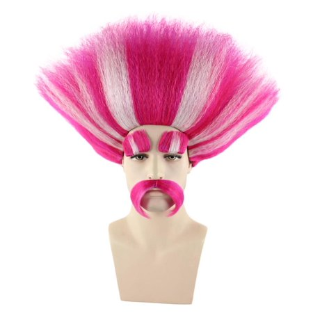King Troll Wig, Red & White Kids HM-110