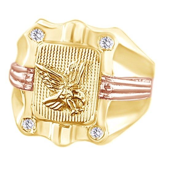 White Cubic Zirconia Eagle Wedding Band Ring For Men's In 14k Yellow Gold Over Sterling Silver (0.1 Cttw) By Jewel Zone US