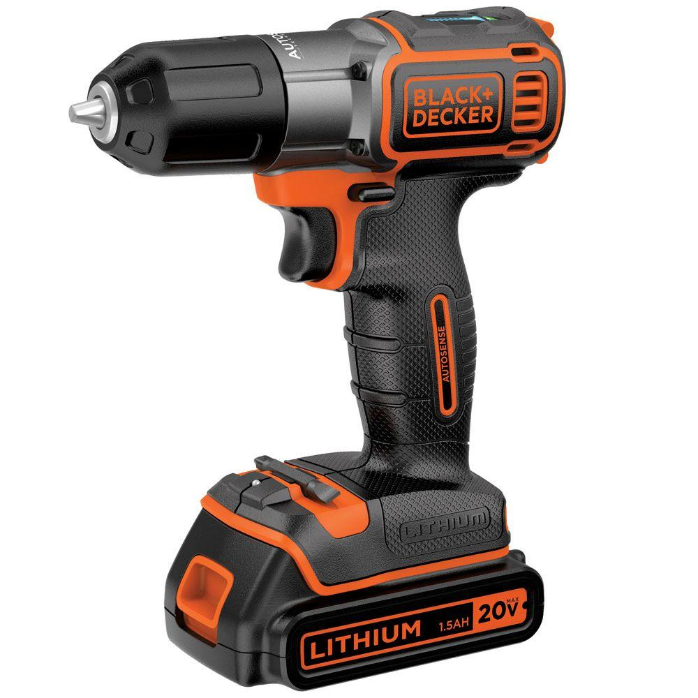 Black & Decker 20V Max Lithium-Ion Cordless Drill Kit With Autosense BDCDE120C