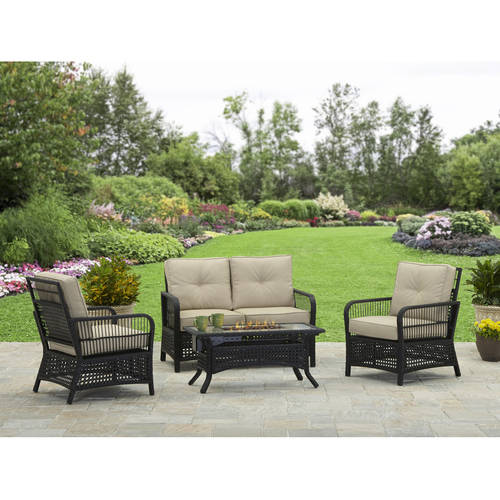 Better Homes and Gardens Silverton 4-Piece Wicker Gas Fire Pit Set